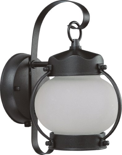 Nuvo Lighting 60/3943 One Light Onion Wall Lantern with Frosted Glass and Photocell, Textured (Onion Wall Mounted Outdoor Light)