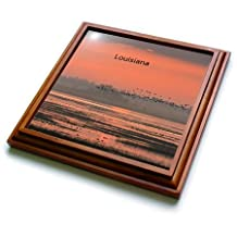 Florene - America The Beautiful - Print of Louisiana Sunset With Birds Flying - Trivets - 8x8 Trivet with 6x6 ceramic tile - trv_194698_1
