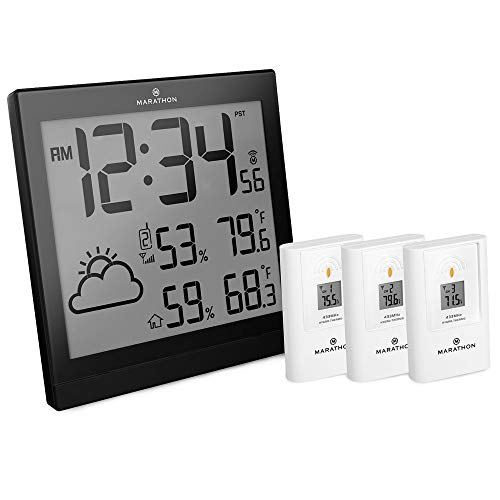 Marathon BA030016 Atomic Weather Station with 3 Indoor/Outdoor Remote Sensors