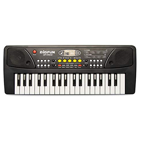 BIGFUN 37 Keys Multifunction Portable Electronic Kids Piano Musical Teaching Keyboard for Kids Children Early Learning Educational Toy with Double Speakers (Black)