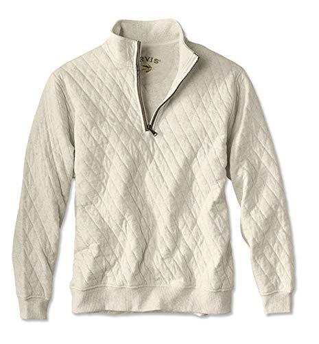 Orvis Men's Quilted Quarter-Zip Pullover, Cream, Medium