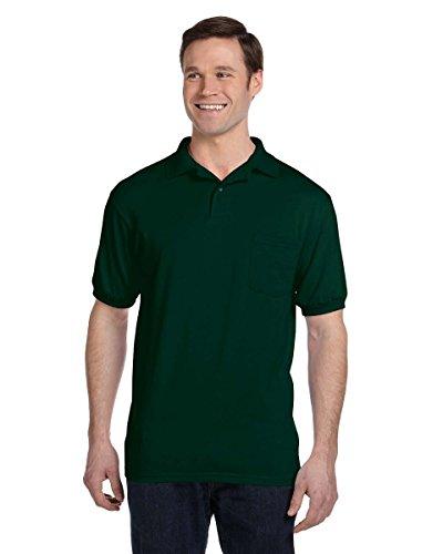 Knit Shirt Sleeve Pique (Hanes Men's 5.2 oz Hanes STEDMAN Blended Jersey Pocket Polo, L-Deep Forest)