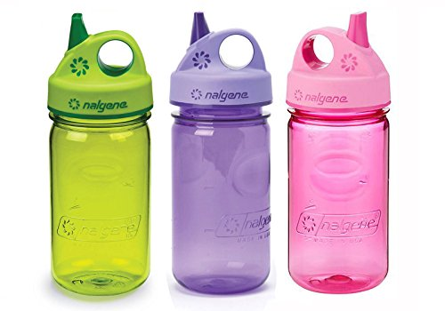 Nalgene Kids / Children's Grip-n-Gulp 12oz. Water Bottles, 3 Bottle Bundle Pack (Pink, Purple, and Green)