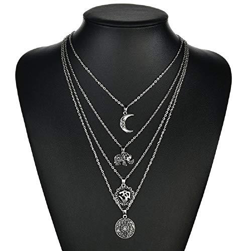 Wcysin Women Girls Dual Layer Elephant Moon Pendant Necklace Fashionable Chain Choker Necklace Silver (Set Coin Elephant)