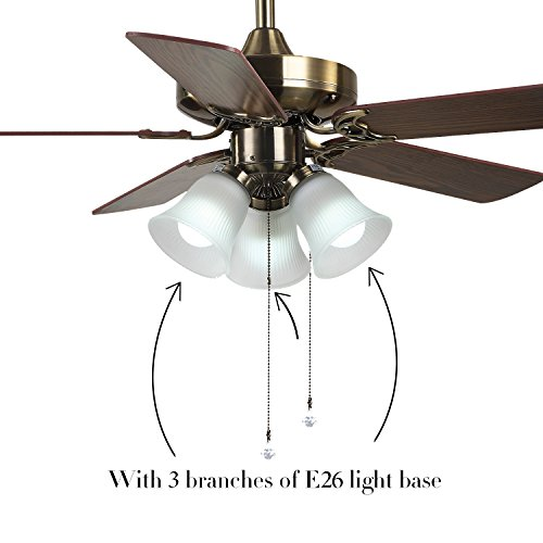 42 U0026quot  Indoor Ceiling Fan  Light Kit With Frosted Glass  With