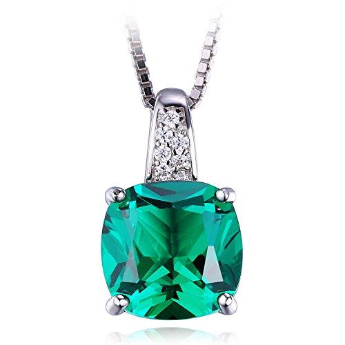 Jewelrypalace 3.42ct Grün Synthetisch Prinzessin Schliff Nano Russisch Smaragd Anhänger Kette Halskette 925 Sterling Silber Damen