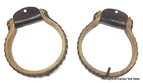 D.A. Brand Rawhide Covered Steel Oxbow Stirrups w/ Medium Oil Leather (Rawhide Covered Stirrup)