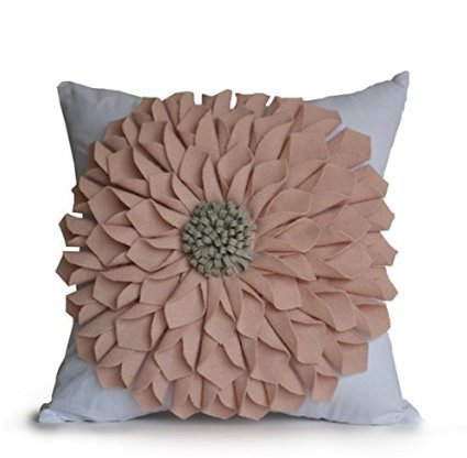 Amore Beaute Handcrafted Blush Pink Felt Floral Pillow Cover White Cotton Throw Decorative Pillow Case Dorm Decor Gifts…