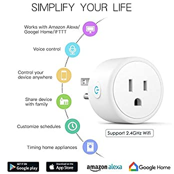 Aoycocr Wifi Smart Plug, Energy Saving Wireless Mini Smart Socket with Timer, No Hub Required, Compatible with Alexa, Google Home & IFTTT, ETL Listed, White
