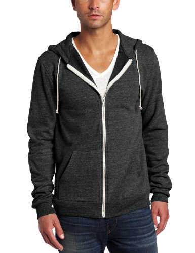 Threads 4 Thought Men's Triblend Zip Front Hoodie, Heather Black, Large