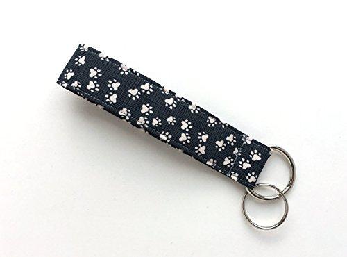 Cat and Dog Paw Prints Keychain Wristlet – 100% Organic Cotton Fabric Key Lanyard