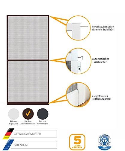 Insektenschutz Fliegengitter Tür Alurahmen Master Slim Auf Maß geschnitten, Selbstbausatz oder komplett aufgebaut, weiß, braun oder anthrazit, in verschiedenen Größen