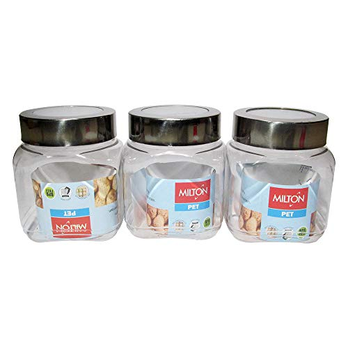 Milton Crisp and Clear Square, 500 ML Storage Pet Jar Set of 3, BPA Free, Airtight Containers,Durable, Shatterproof, to Store Kitchen Dry Goods, Rice, Cereal, Flour, Grains, Soda ()