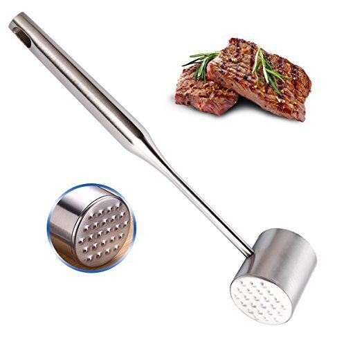 B07C9N1M1CBOQUN Meat Tenderizer Stainless Steel Loose Meat Hammer Pounder Meat Mallet Tool for Steak Pork Kitchen Tools Double-Sided