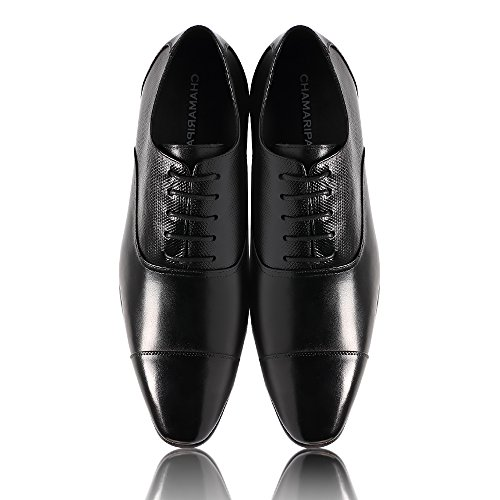 Chamaripa Mens Elevator Shoes Scarpe Basse Oxford In Pelle Di Vitello - 7,5 Cm Più In Alto - K4022 ¡nero