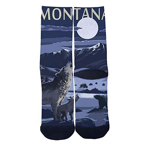 Mens Womens Personality Montana Valley Scene at Night with WolvesBy Socks Crazy Custom Socks Creative Sport Casual Crew Socks Black -