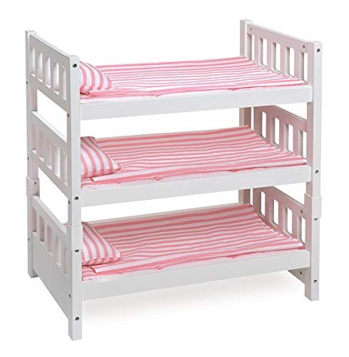 Beds Badger Basket - Badger Basket 1-2-3 Convertible Doll Bunk Bed (Fits American Girl Dolls), White/Pink Stripe