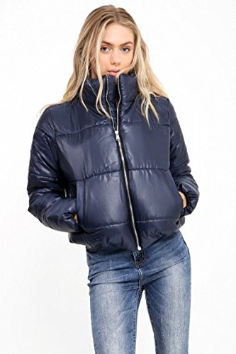 Womens Wet Look Cropped Jackets Coat Ladies Padded Bomber Bubble Puffer Short UK[Navy,L] ()