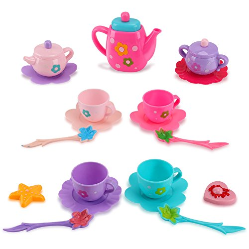 (Liberty Imports Princess Royal Tea Set Pretend Playset - Kids Tea Party Play Food Accessories Kitchen Toy Teapot Gift Set for Girls (21-Piece))
