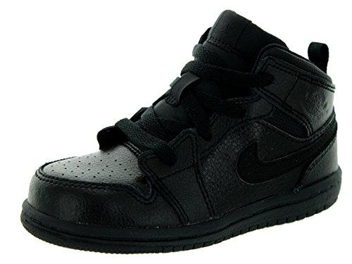 (Nike Jordan Toddlers Jordan 1 Mid Bt Black/Black/Black Basketball Shoe 6 Infants US)