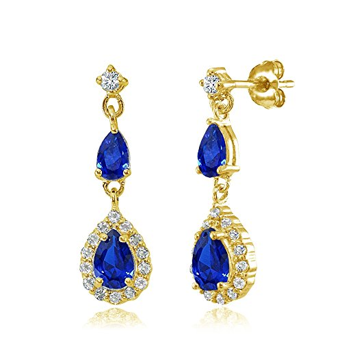 Yellow Gold Flashed Sterling Silver Created Blue Sapphire and White Topaz Fashion Teardrop Dangle ()