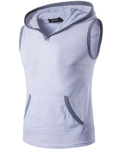 Nidicus Mens Athlete Hoodie Sleeveless Cotton Light Vest with Front Pocket