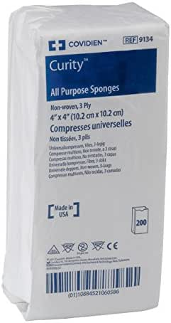 Covidien 9134 Curity Non-Woven All-Purpose Sponge, Non-Sterile, 4