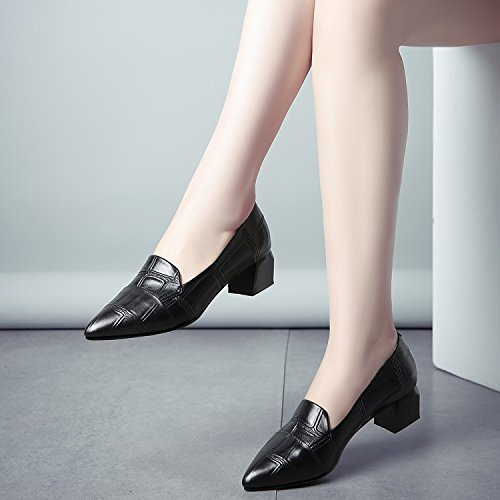 Help Thick High Low Shallow Mouth Autumn Black Spring heels Pointed With Shoes Women Shoes Jqdyl Women'S 6BPzwdOnqq