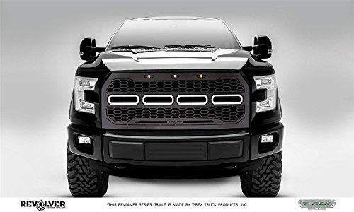 - T-Rex Grilles 6515771 Revolver Series Grille; 1 Pc; Incl. 3 Amber Running Lights; 4 6 in. ZROADZ LED Bars w/Harness; Fits Vehicles w/Forward Facing Camera; Black Powdercoat Steel;