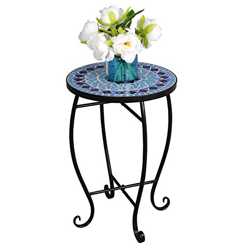 ZENSTYLE Mosaic Round Side Table Metal Frame Accent Table Cobalt Glass Top Plant Stand, Coffee End Table, Table Decor for Indoor Outdoor Patio Balcony Garden Pool ()