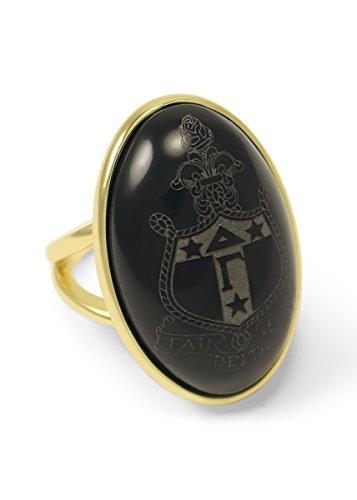 The Collegiate Standard Delta Gamma Sorority Duchess Crest Ring- 14k Brass with Black Onyx ()