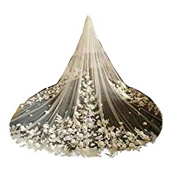 Fenghuavip Ivory Tulle 1T Brides Veils 4M 5M Cathedral Wedding Long 3D Flower Veil with Comb