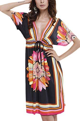 73d54dd6d08 Xxl cn En Femmes Blanc Xxl Robe Oudan De D été Tunique coloré Noir À Col ...