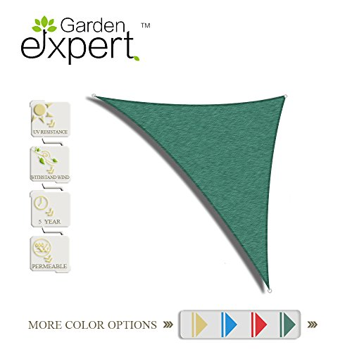 Garden EXPERT 10'x10'x14'knitting Sun Shade Sail for Garden,Outdoor and Patio,Right Triangle,Green