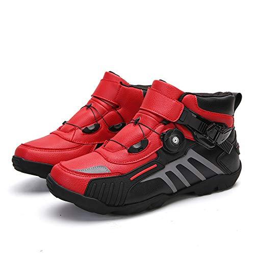 MRDEAR Motorrad Schuhe Herren Damen mit Einstellknopf, Motocross Kurze Ankle StiefelMotorradschuhe Motorrad Stiefel…