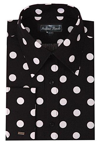 "Dot Collar Shirt - Fortino Landi Men's 100% Cotton Big Polka Dot Design Spread Collar Dress Shirt (17-17.5"" Neck 36/37"" Sleeve, Black)"