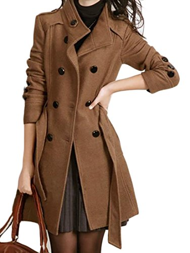 Cruiize Womens Slim Double Breasted Belted Wool Pea Coat Trenchcoat Camel L