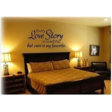 Every love story is beautiful but ours is my favourite,PVC Waterproof Removable Wall Stickers,Wall Art Decals home decor£¨Size:42cm x 83cm £©