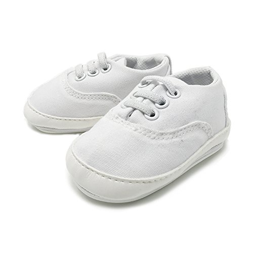 FRILLS Infant Toddlers Baby Boys and Girls Soft Soled Crib Shoes PU Sneakers - White Classic (for ages 6-12 months/12 cm. length)
