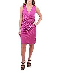 Velvet by Graham & Spencer Ruched Wrap Dress, Fuchsia