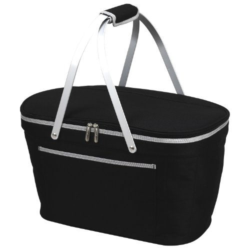 Picnic at Ascot Large Family Size Insulated Folding Collapsible Picnic Basket Cooler with Sewn in Frame - Black