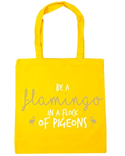 HippoWarehouse Be A Flamingo In A Flock Of Pigeons Tote Shopping Gym Beach Bag 42cm x38cm, 10 litres Yellow