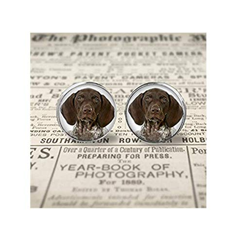 (Goodnight cat Your German Shorthaired Pointer Dog's Photo on Earrings,Dome Glass Ornaments, Personalized Ear Studs)