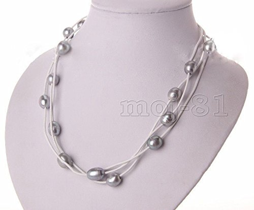Fashion Women's White Leather Rope & Gray Freshwater Pearl Necklace 17'' Long