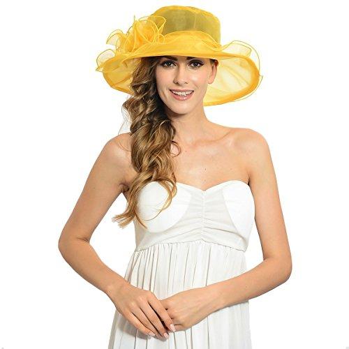 IL Caldo Women's Kentucky Derby Sun Hat Fascinator Flowers Wide Brim Gauze Hat Headdress,Yellow