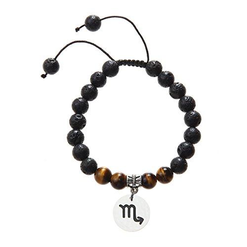 Meibai Handmade 8mm Lava Rock Tiger Eye Natural Stone Beads Bracelet with Constellation Zodiac Sign Charm Adjustable Size (Scorpio)