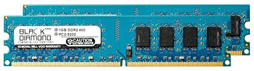 2GB 2X1GB RAM Memory for ECS 945 Series 945P-A (2.0) DDR2 DIMM 240pin PC2-3200 400MHz Black Diamond Memory Module Upgrade