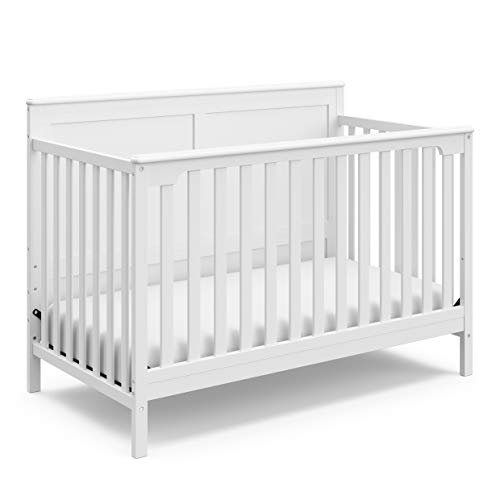 Storkcraft Alpine 7-in-1 Convertible Crib (White) – Converts to Toddler Bed, Daybed, and Full-Size Bed with Multiple Style Combinations, 3-Position Adjustable Mattress Support Base