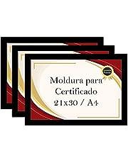 Kit 3 Porta Certificados 21x30 Moldura A4 para Certificado Foto Parede (Preto)