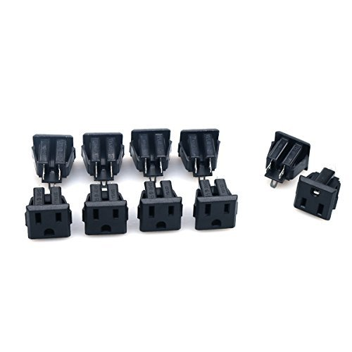 GLE2016 10Pcs Black US 3 Pins Power Socket Plug Panel Screw Mount Type Connectors Adapter (Female)